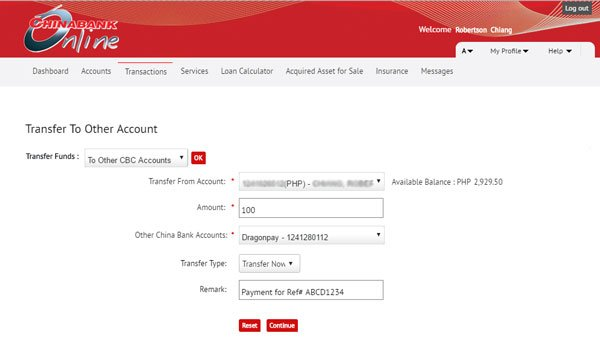 Paying via Chinabank online - Step 4