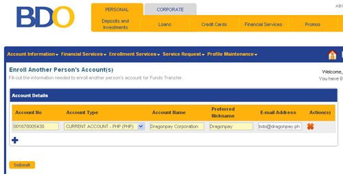 BDO Retail Internet Banking Third Party Enrollment