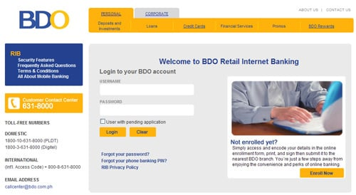 BDO Retail Internet Banking Login Screen