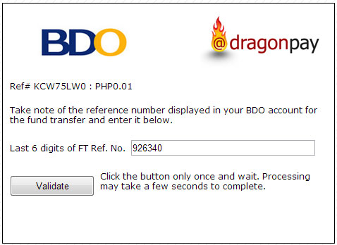 Paying Online using BDO Retail Internet Banking | Dragonpay