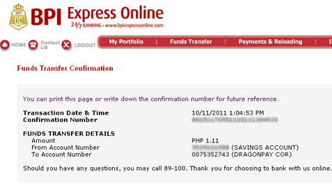 BPI Express Online Fund Transfer Step 2