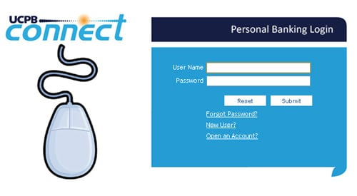 UCPB Connect Login Screen