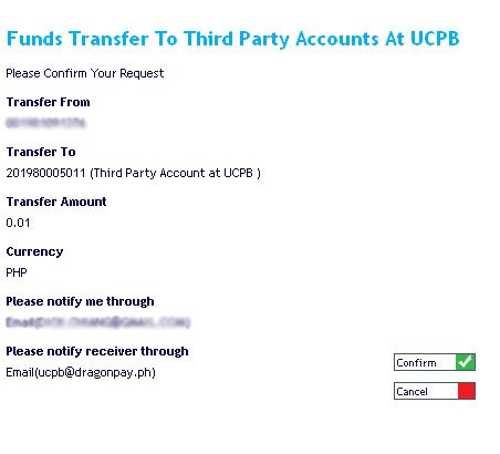 UCPB Connect Confirm Fund Transfer
