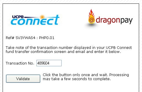 UCPB Connect Fund Transfer Validation