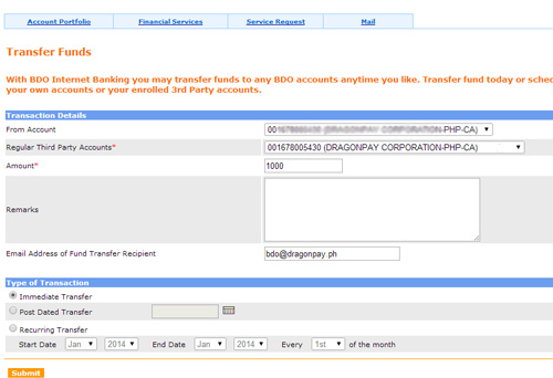 BDO Corporate Internet Banking Fund Transfer