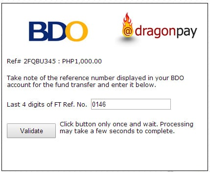 BDO Corporate Internet Banking Fund Transfer Validation