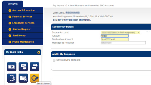 BDO Any Account Fund transfer
