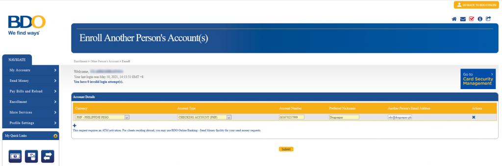 Enrolling Dragonpay on BDO Retail internent banking - Step 3