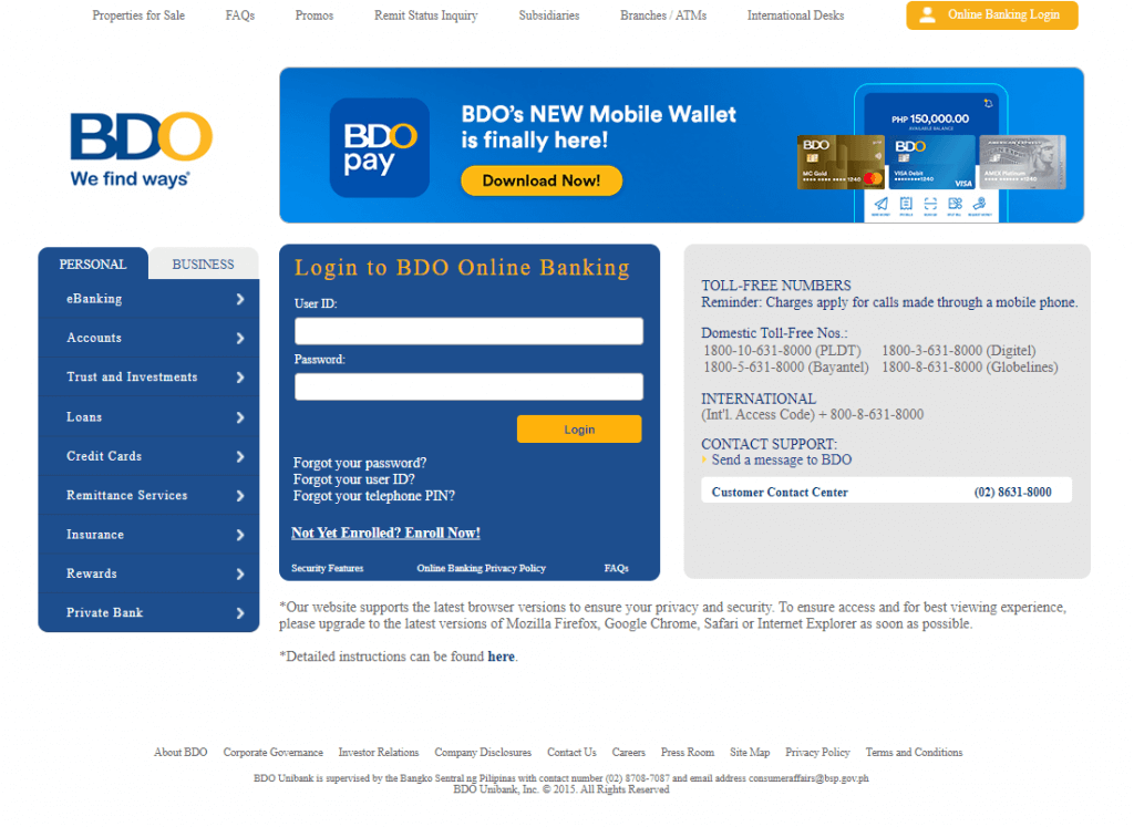 How to pay using BDO - Step 1